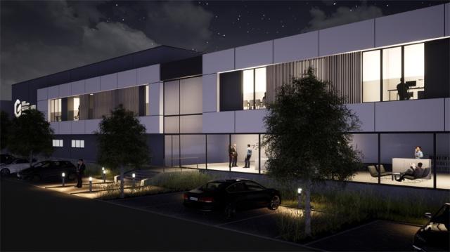 Bâtiment industriel de nuit